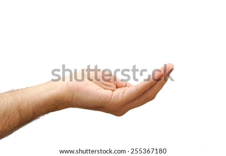 Hand prepared to hold anything. Gesture isolated on white background