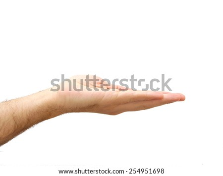 Hand prepared to hold something. Gesture isolated on white background
