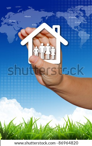 Hand present your home and family symbol - stock photo