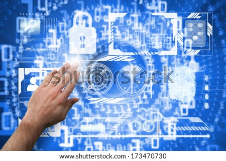 Hand presenting against bright futuristic binary code spiral - stock photo