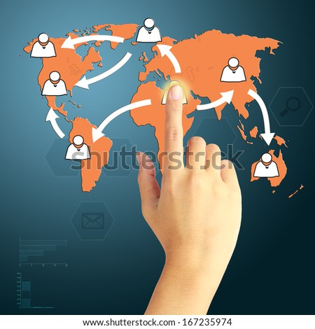 Hand press a communication on virtual screen. Concept of marketing growth. - stock photo