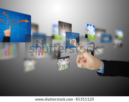 hand press business collection - stock photo