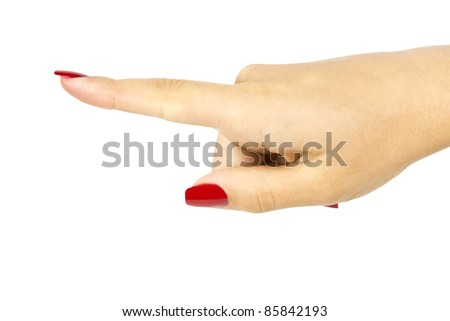 hand press button on white background