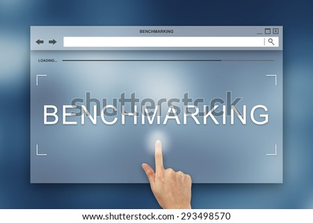 hand press on benchmarking button on webpage - stock photo