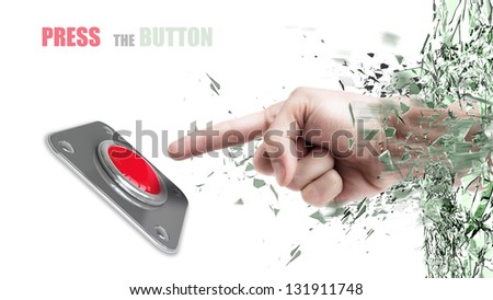 Hand press on big Red button out of cracked glass isolated on white background - stock photo