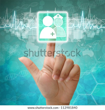Hand press on Doctors and Nurse Symbol,medical icon - stock photo