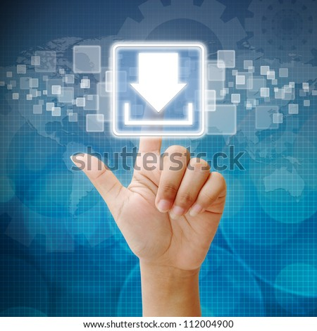 Hand press on download icon - stock photo