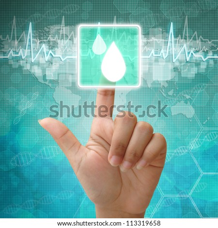 Hand press on Drops of blood Symbol ,medical icon - stock photo