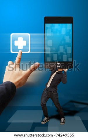 Hand press on First aid button from mobile phone - stock photo