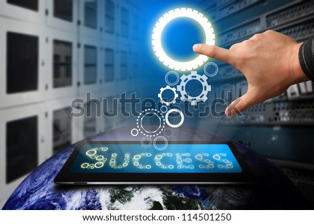 Hand press on gear for success : Elements of this image furnished by NASA - stock photo