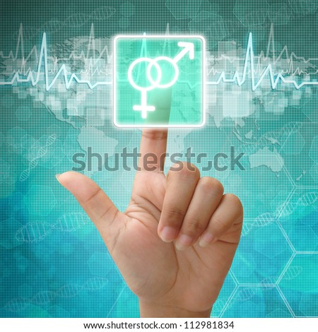 Hand press on Male and female Symbol ,medical background - stock photo