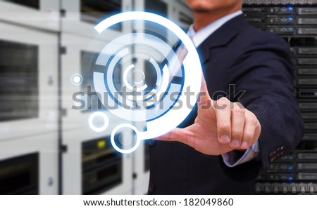 Hand press on power button - stock photo