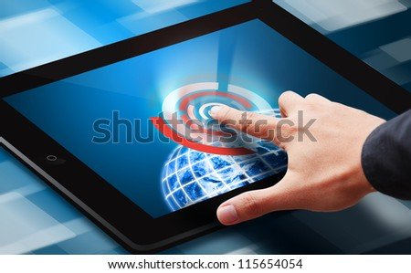 Hand press on power button : Elements of this image furnished by NASA - stock photo