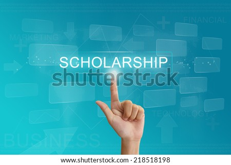 hand press on scholarship button on virtual screen - stock photo