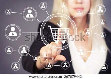 Hand press on shopping cart web sign