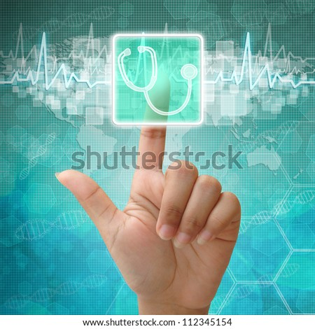 Hand press on Stethoscope symbol , medical background - stock photo