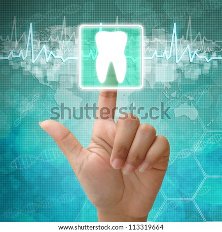 Hand press on tooth Symbol ,medical icon