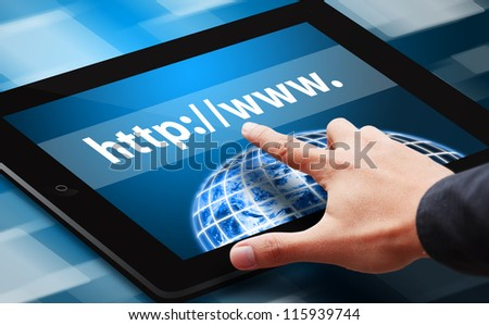 Hand press on web link on tablet : Elements of this image furnished by NASA - stock photo