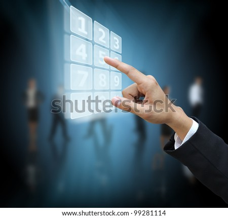 Hand press phone number - stock photo