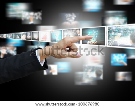Hand press picture - stock photo