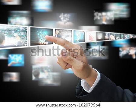 Hand press picture - stock photo