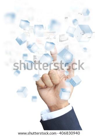 Hand press technology - stock photo