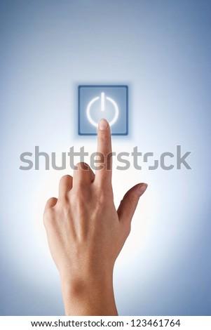 hand presses the virtual button girl - stock photo