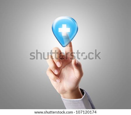 hand pressing a touchscreen button and Medical - stock photo