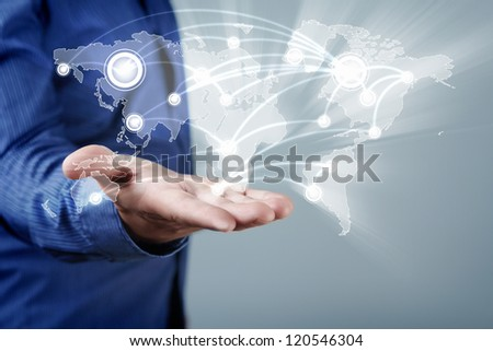 Hand pressing abstract virtual buttons on touchscreen - stock photo