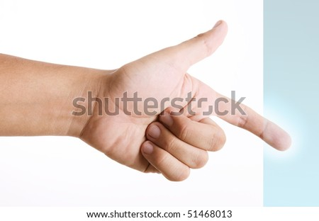 Hand pressing blue button, Technology concept. white background