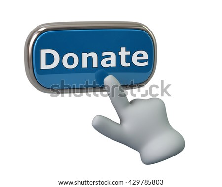 Hand pressing blue donate button isolated on white background