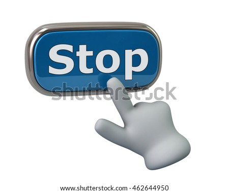 Hand pressing blue stop button isolated on white background