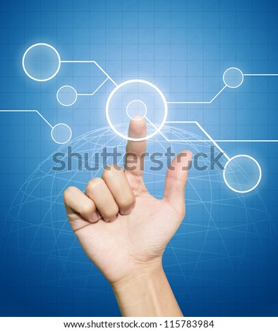 Hand pressing button on flow of technology button background