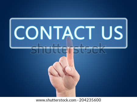 Hand pressing Contact us button on interface with blue background.