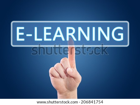 Hand pressing E-learning button on interface with blue background. - stock photo