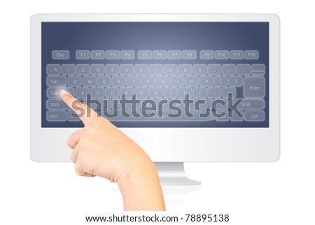 Hand pressing keyboard on the monitor screen isolate on the white.