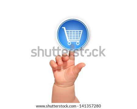 Hand pressing like button over blue background. - stock photo