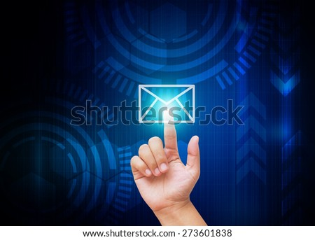 Hand pressing Mail buttons with technology background  - stock photo