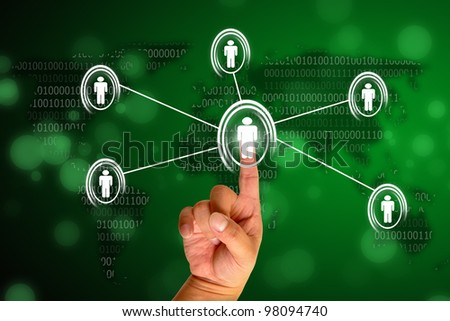 Hand pressing modern social button - stock photo