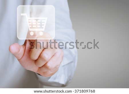 hand pressing modern social buttons - stock photo