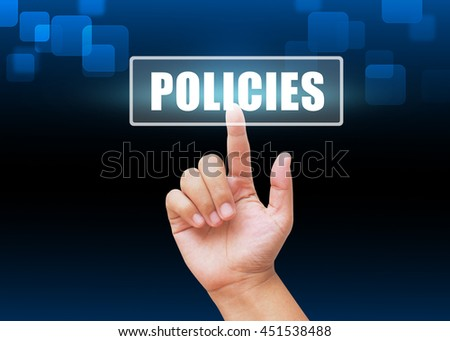 Hand pressing POLICIES button on technology background