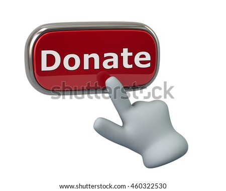 Hand pressing red donate button isolated on white background