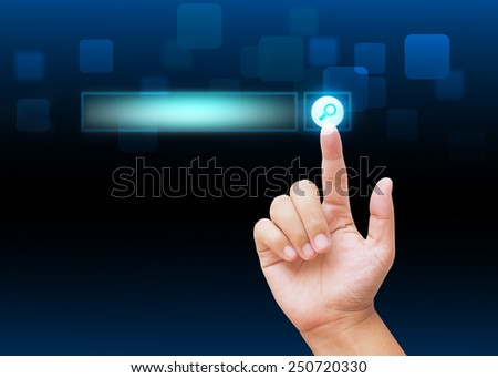 Hand pressing research buttons with technology background  - stock photo
