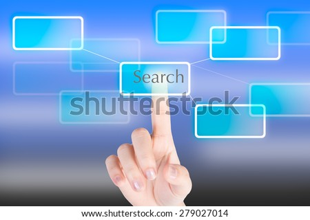 "Hand pressing ""Search""  button with technology background"