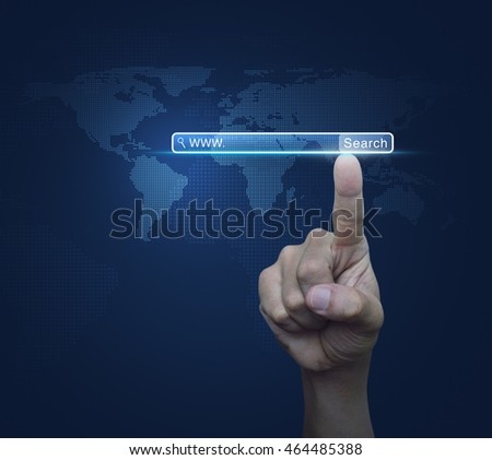 Hand pressing search www button over digital world map blue background, Searching system and internet concept, Elements of this image furnished by NASA