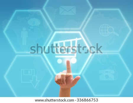hand pressing shopping cart on a touch screen interface