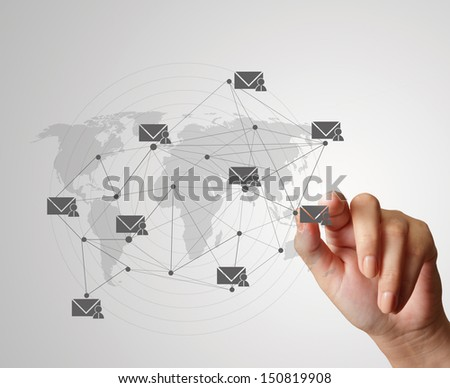 hand pressing social media icon as concept - stock photo