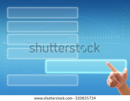 Hand pressing Social network and virtual touch screen - stock photo