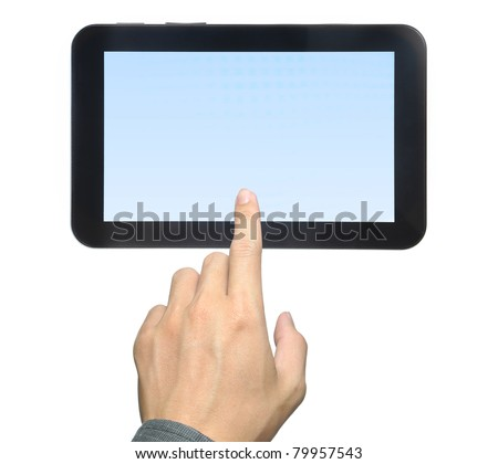 hand pressing touch pad PC isolated on white background - stock photo
