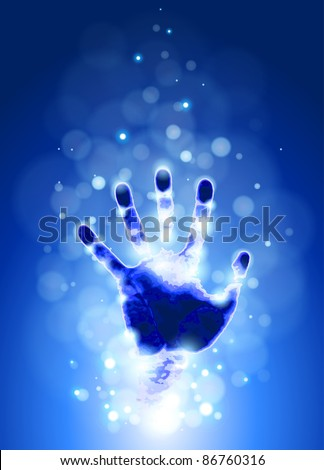 hand print & blue bokeh abstract light background. Bitmap copy my vector id 72058558 - stock photo